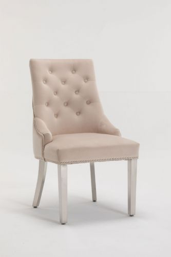 Knightsbridge Cream Velvet Ring Knocker Dining Chair